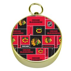 Chicago Blackhawks Nhl Block Fleece Fabric Gold Compasses