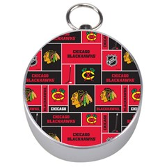 Chicago Blackhawks Nhl Block Fleece Fabric Silver Compasses