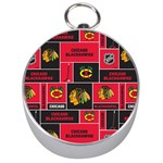 Chicago Blackhawks Nhl Block Fleece Fabric Silver Compasses Front