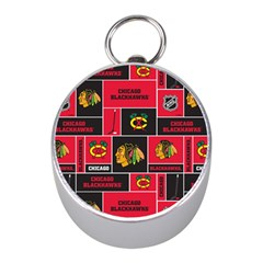 Chicago Blackhawks Nhl Block Fleece Fabric Mini Silver Compasses