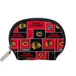 Chicago Blackhawks Nhl Block Fleece Fabric Accessory Pouches (Small)  Front