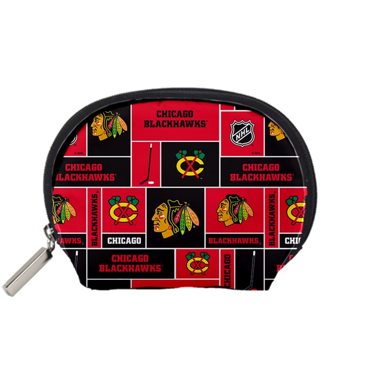Chicago Blackhawks Nhl Block Fleece Fabric Accessory Pouches (Small)
