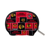 Chicago Blackhawks Nhl Block Fleece Fabric Accessory Pouches (Small)  Back