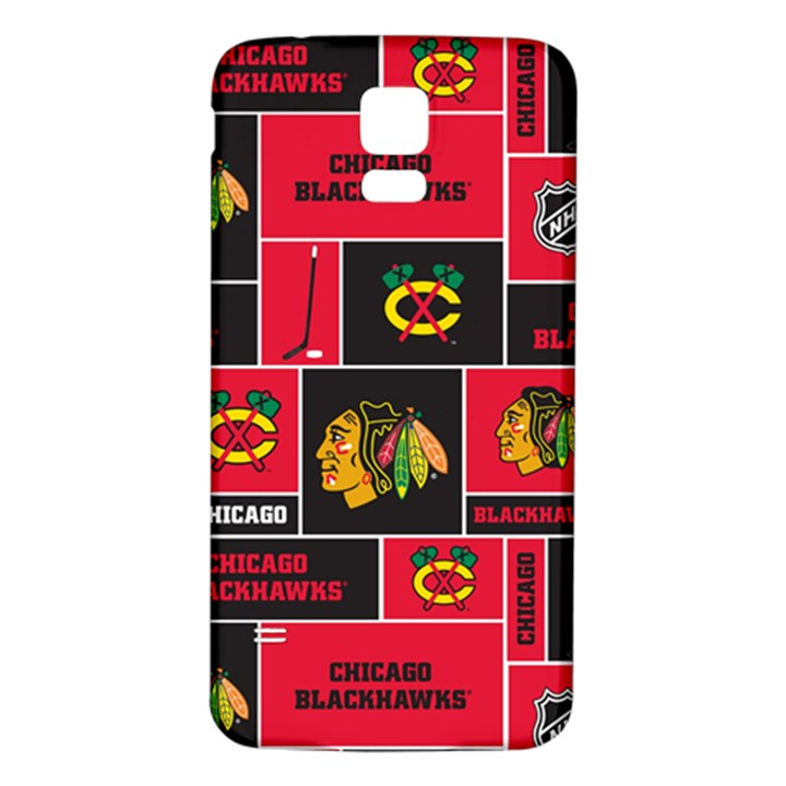 Chicago Blackhawks Nhl Block Fleece Fabric Samsung Galaxy S5 Back Case (White)