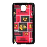 Chicago Blackhawks Nhl Block Fleece Fabric Samsung Galaxy Note 3 Neo Hardshell Case (Black) Front