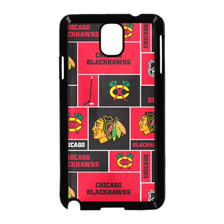 Chicago Blackhawks Nhl Block Fleece Fabric Samsung Galaxy Note 3 Neo Hardshell Case (Black)