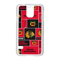 Chicago Blackhawks Nhl Block Fleece Fabric Samsung Galaxy S5 Case (White)