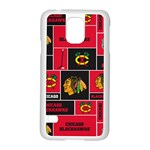 Chicago Blackhawks Nhl Block Fleece Fabric Samsung Galaxy S5 Case (White) Front