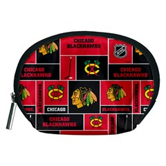 Chicago Blackhawks Nhl Block Fleece Fabric Accessory Pouches (Medium)