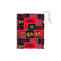 Chicago Blackhawks Nhl Block Fleece Fabric Drawstring Pouches (Small)