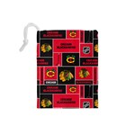 Chicago Blackhawks Nhl Block Fleece Fabric Drawstring Pouches (Small)  Back