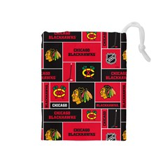 Chicago Blackhawks Nhl Block Fleece Fabric Drawstring Pouches (medium)