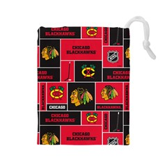Chicago Blackhawks Nhl Block Fleece Fabric Drawstring Pouches (large)