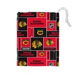 Chicago Blackhawks Nhl Block Fleece Fabric Drawstring Pouches (Large)  Front