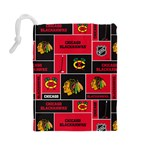 Chicago Blackhawks Nhl Block Fleece Fabric Drawstring Pouches (Large)  Back