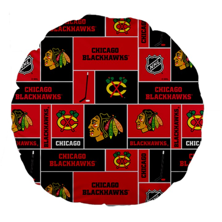 Chicago Blackhawks Nhl Block Fleece Fabric Large 18  Premium Flano Round Cushions