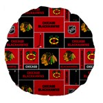 Chicago Blackhawks Nhl Block Fleece Fabric Large 18  Premium Flano Round Cushions Back