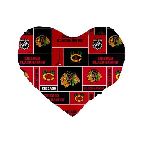 Chicago Blackhawks Nhl Block Fleece Fabric Standard 16  Premium Flano Heart Shape Cushions