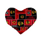 Chicago Blackhawks Nhl Block Fleece Fabric Standard 16  Premium Flano Heart Shape Cushions Back
