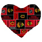 Chicago Blackhawks Nhl Block Fleece Fabric Large 19  Premium Flano Heart Shape Cushions Front