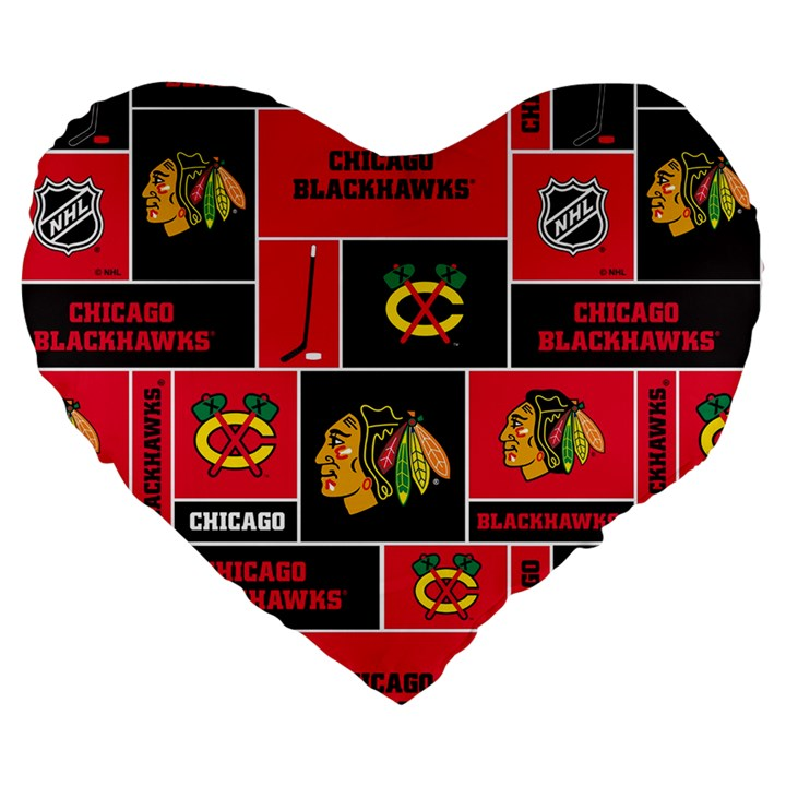 Chicago Blackhawks Nhl Block Fleece Fabric Large 19  Premium Flano Heart Shape Cushions