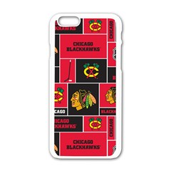 Chicago Blackhawks Nhl Block Fleece Fabric Apple iPhone 6/6S White Enamel Case