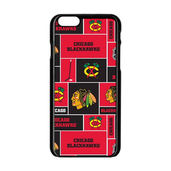 Chicago Blackhawks Nhl Block Fleece Fabric Apple iPhone 6/6S Black Enamel Case