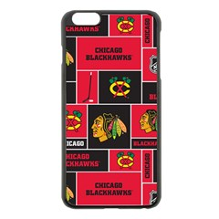Chicago Blackhawks Nhl Block Fleece Fabric Apple Iphone 6 Plus/6s Plus Black Enamel Case