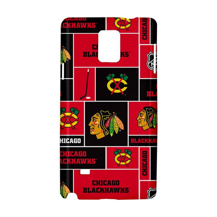 Chicago Blackhawks Nhl Block Fleece Fabric Samsung Galaxy Note 4 Hardshell Case