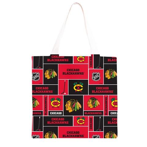 Chicago Blackhawks Nhl Block Fleece Fabric Grocery Light Tote Bag