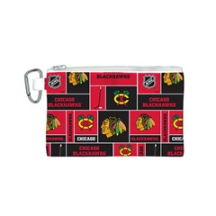 Chicago Blackhawks Nhl Block Fleece Fabric Canvas Cosmetic Bag (S)