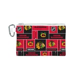 Chicago Blackhawks Nhl Block Fleece Fabric Canvas Cosmetic Bag (S) Front