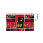 Chicago Blackhawks Nhl Block Fleece Fabric Canvas Cosmetic Bag (S) Back