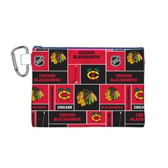 Chicago Blackhawks Nhl Block Fleece Fabric Canvas Cosmetic Bag (m)