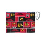 Chicago Blackhawks Nhl Block Fleece Fabric Canvas Cosmetic Bag (M) Back