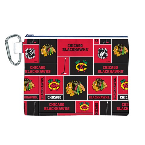 Chicago Blackhawks Nhl Block Fleece Fabric Canvas Cosmetic Bag (L)