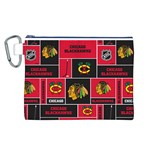 Chicago Blackhawks Nhl Block Fleece Fabric Canvas Cosmetic Bag (L) Front