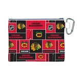 Chicago Blackhawks Nhl Block Fleece Fabric Canvas Cosmetic Bag (L) Back