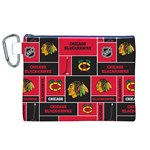 Chicago Blackhawks Nhl Block Fleece Fabric Canvas Cosmetic Bag (XL) Front
