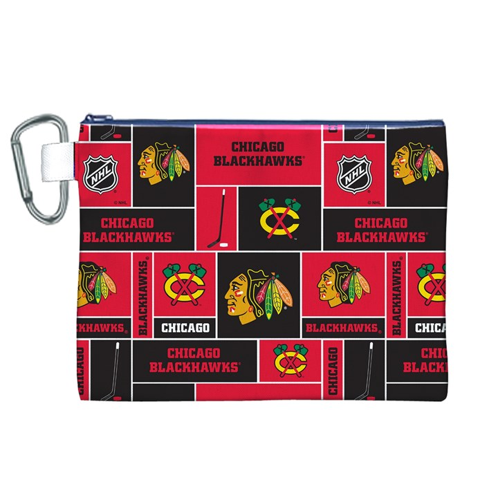 Chicago Blackhawks Nhl Block Fleece Fabric Canvas Cosmetic Bag (XL)