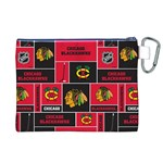 Chicago Blackhawks Nhl Block Fleece Fabric Canvas Cosmetic Bag (XL) Back