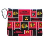 Chicago Blackhawks Nhl Block Fleece Fabric Canvas Cosmetic Bag (XXL) Front