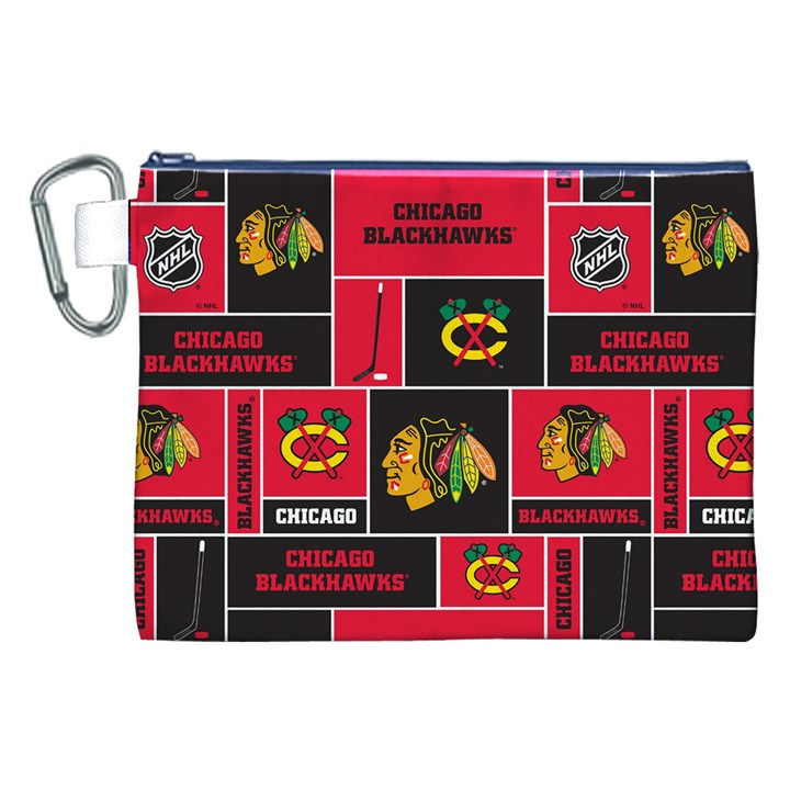 Chicago Blackhawks Nhl Block Fleece Fabric Canvas Cosmetic Bag (XXL)
