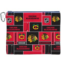 Chicago Blackhawks Nhl Block Fleece Fabric Canvas Cosmetic Bag (XXXL)