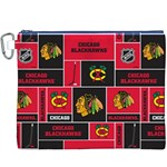 Chicago Blackhawks Nhl Block Fleece Fabric Canvas Cosmetic Bag (XXXL) Front