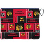 Chicago Blackhawks Nhl Block Fleece Fabric Canvas Cosmetic Bag (XXXL) Back