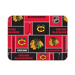 Chicago Blackhawks Nhl Block Fleece Fabric Double Sided Flano Blanket (Mini)