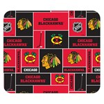 Chicago Blackhawks Nhl Block Fleece Fabric Double Sided Flano Blanket (Small)  50 x40 Blanket Front