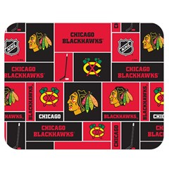 Chicago Blackhawks Nhl Block Fleece Fabric Double Sided Flano Blanket (Medium)