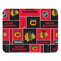 Chicago Blackhawks Nhl Block Fleece Fabric Double Sided Flano Blanket (Large)